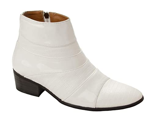 b9437255a05a Mens White Patent Smart Italian Dress Cuban Heel Boots Gents Formal Shoes  Size (6 UK