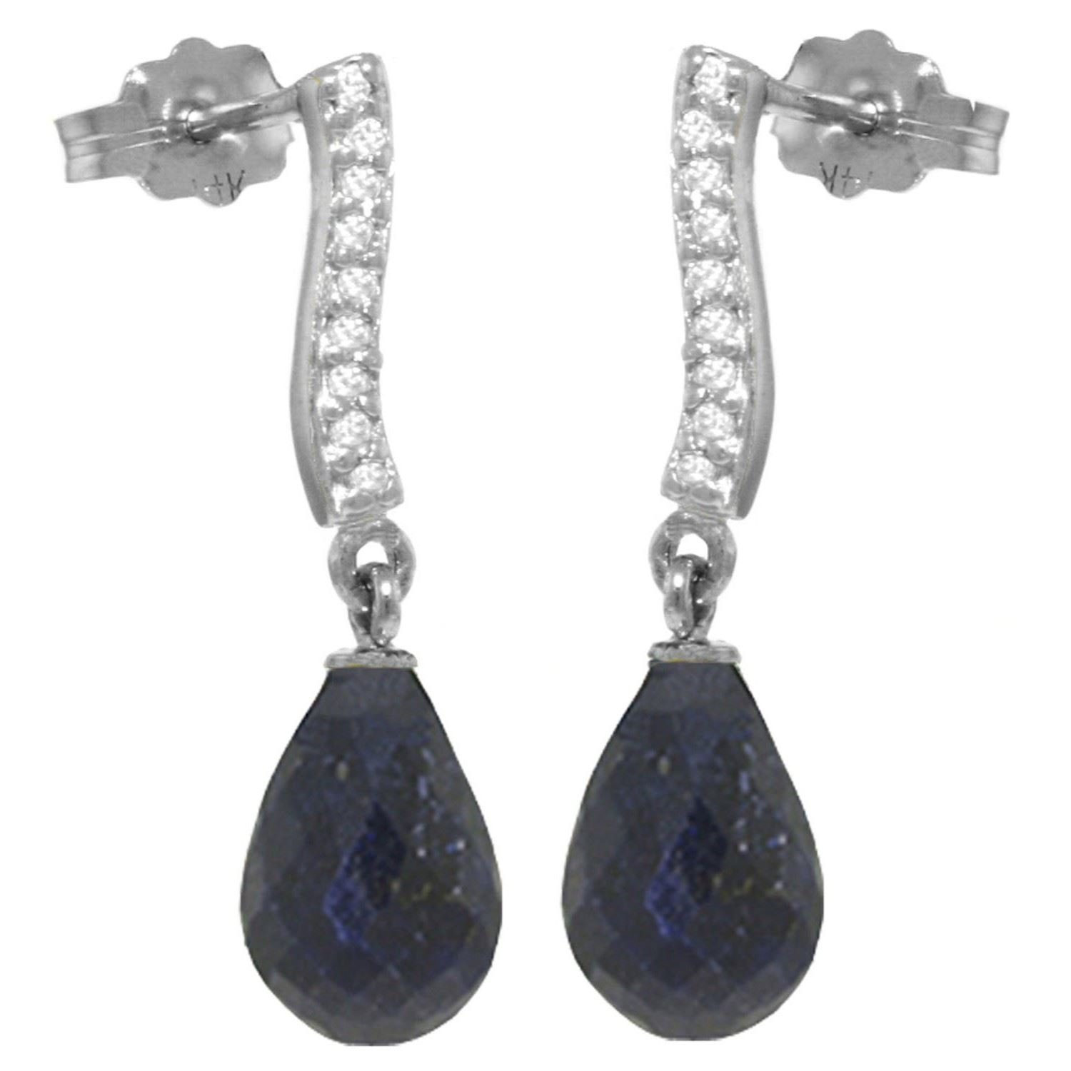 ALARRI 6.88 Carat 14K Solid White Gold Love That Dances Sapphire Diamond Earrings
