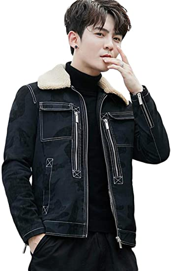 [ShuMing]メンズ デニムジャケット 裏起毛 ジージャン ボア 厚手 スリム コート ショート丈 デニム Gジャン ジップアップ ブルゾン 防寒 カジュアル アウター 大きいサイズ 冬