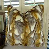 Thomas Collection Light Brown Faux Fur Throw Pillow, Brandy Fox Fur Pillow, Gold Light Brown White Faux Fur Throw Pillow, Luxury Soft Fur, COVER ONLY, NO INSERT, Made in America, 17403