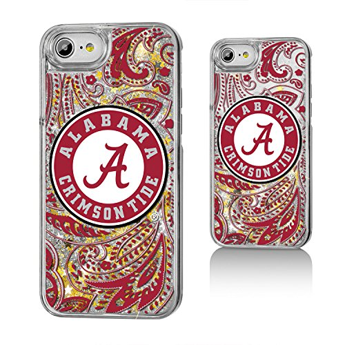 Keyscaper NCAA Alabama Crimson Tide UA Paisley Glitter Case for iPhone 8/7/6, Clear by Keyscaper