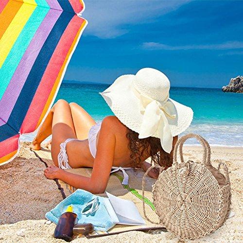 Bolsa playa de Crossbody Bolsos Paja redondo viaje vacaciones de Verano Bolso de a Bolsa para de Crossbody hombro mano Shoulder Compras playa de de Bolsa Bolso tejido mano 1xIIwUTq