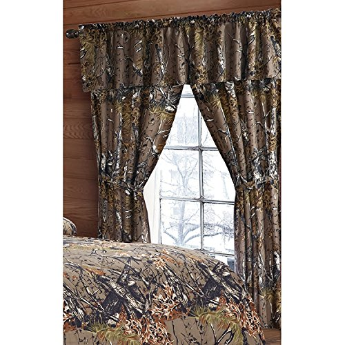 The Woods Green Camouflage 5pc Curtain Set by Regal Comfort For Hunters Cabin or Rustic Lodge Teens Boys and Girls (Curtain , Natural Green)