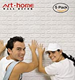 Tools & Hardware : Arthome White Brick 3D Wall Panels Peel and Stick Wallpaper for Living Room Bedroom Background Wall Decoration (5 Pack, White 28 sq feet)