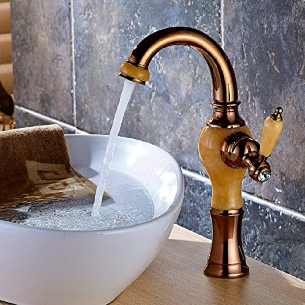 Water Tapfaucet Taps Heightening Faucet Basin Hot and Cold Topaz Marble Basin Faucet All Copper pink gold Faucet, Topaz [360 Degree redation]