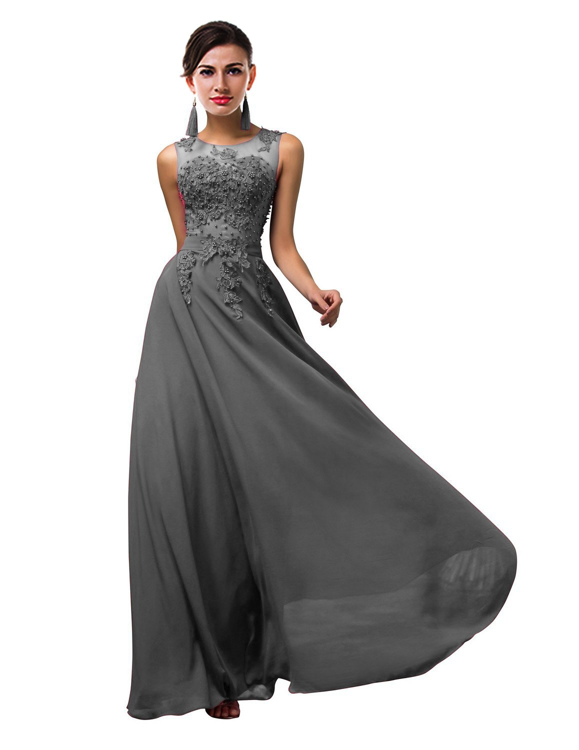 Thalia Women Long Sheer Neck Evening Bridesmaid Dresses Prom Gowns T004LF Gray US10
