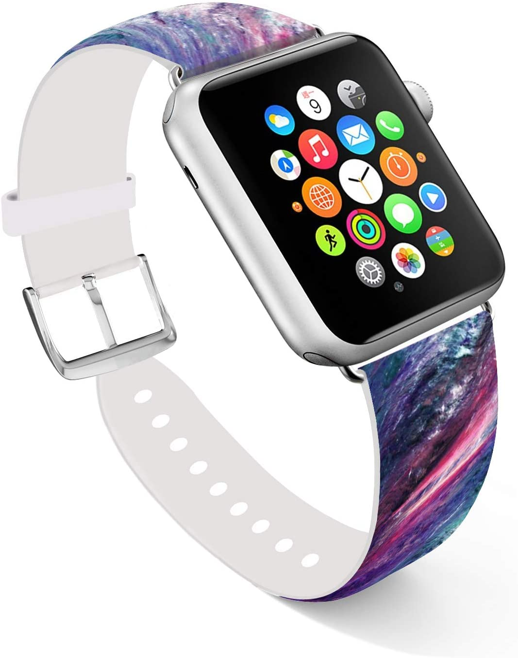 Ecute Compatible with Apple Watch Band 38mm 40mm, Soft Leather Band Strap Compatible with iWatch Series 6/5/4/3/2/1 - Galaxy Starry Sky