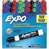 EXPO Low Odor Dry Erase Marker   Chisel Tip Markers   Whiteboard Markers, Assorted, 36 Count