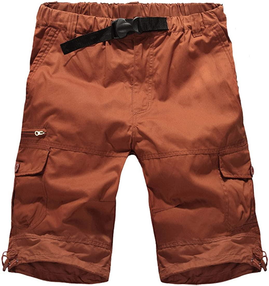 GUSER Mens Summer Elastic Waist Baggy Cotton Cargo Shorts Red Brown 34