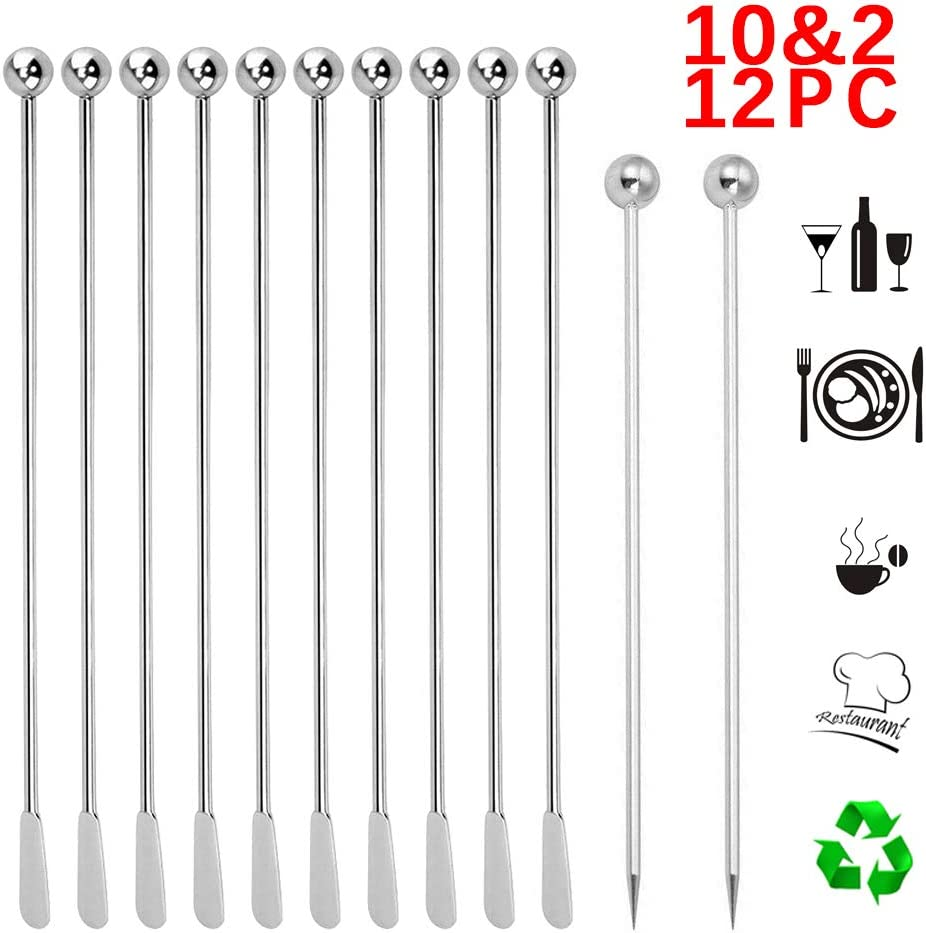 """10pcs Stainless Steel Coffee Beverage Stirrers Stir Cocktail Drink Swizzle Stick with Small Rectangular Paddles, 7.4"""" Swizzle Stick Picks Tools for Juices, Chocolate, Milk, Easy To Clean"""