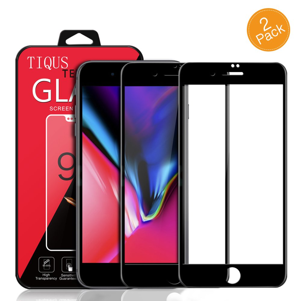 8 Plus 7 Plus Full Coverage Screen Protector, TIQUS [2 Pack] 3D Curved Glass Screen Protector Compatible for Apple iPhone 8 Plus/iPhone 7 Plus [Black]