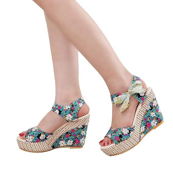 Sandalias Mujer Verano de Tacón Alto Plataforma Cuñas Zapatos con Hebilla  Correa de Tobillo Chancletas Negro 37bfbb8e9b7f