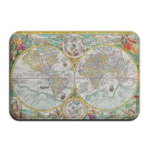 Embroidered Pique Sham (Retro Worldwide Animals Map Non Slip Washable Cozy Indoor Bathroom Mat For Living Room Bedroom (23.6