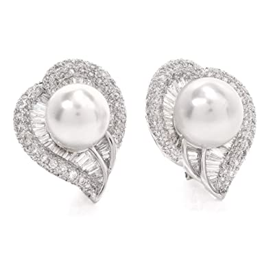 78ca69d0f Image Unavailable. Image not available for. Color: Pearl Diamond Fancy  Heart 18K Gold Cluster Earrings