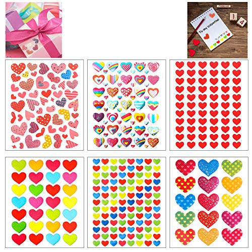 BeYumi 60 Sheets Valentines Heart Stickers for Kids, 3200+ Different Piece, Great for Colorful Decorations, Party Supplies Favors, Birthday Gift, Reward Stickers