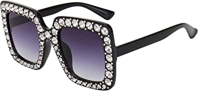 OVERSIZE VINTAGE RETRO Style SUN GLASSES Square Purple Frame Lens Bling Crystals