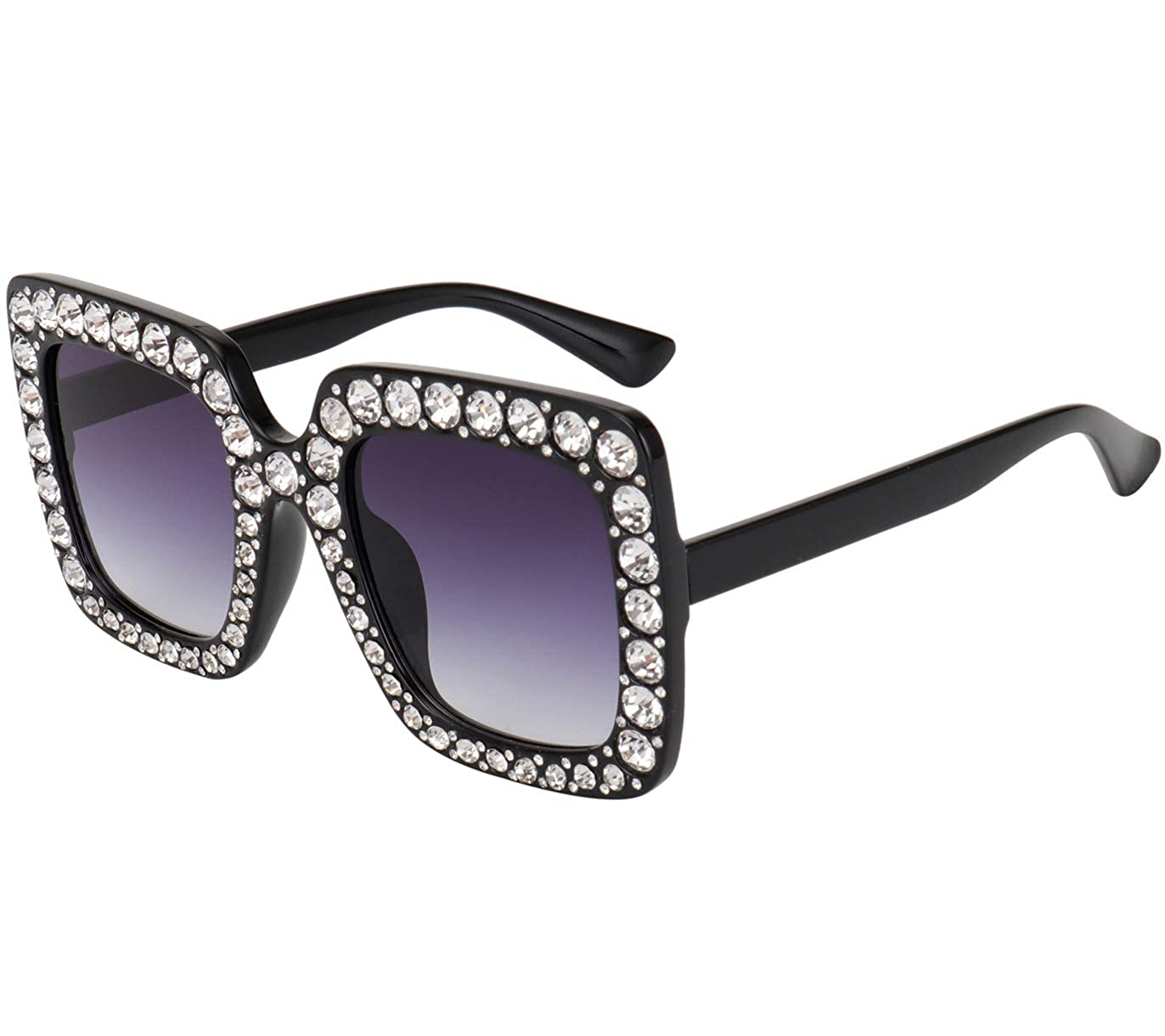 ROYAL GIRL Elton Square Rhinestone Sunglasses Oversized Diamond Bling Bling Glasses