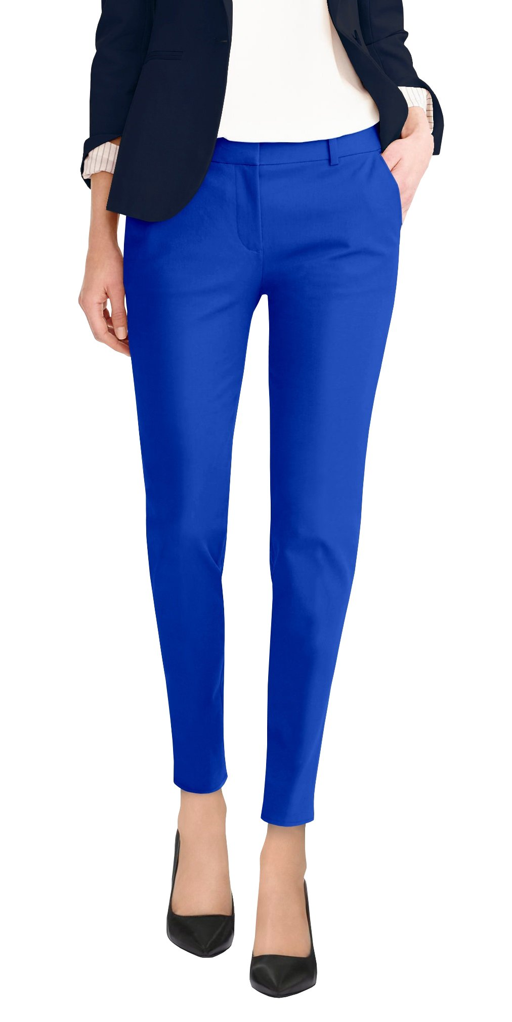 HyBrid & Company Super Comfy Womens Flat Front Stretch Trousers Pants PW31200TT Royal 20