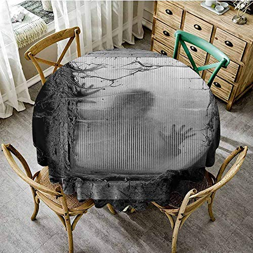 SEMZUXCVO Home Round Tablecloth Horror House Decor Suitable for Cafeteria Zombie Outside from Spiderweb Dirty Glass Striking Nightmare Killer Terror D59 Gray