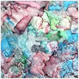 Original abstract art in alcohol ink on ceramic tile titles ''Fantasea''-