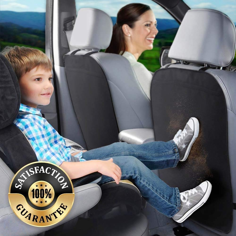 RED SHIELD Universal Car Seat Back Protector. Child Kick Guard Mat Protects Automotive Leather Cloth Seats from Dirt, Scuffs & Scratches. Best Waterproof Protection Cars, Trucks & SUVs [2 PK]