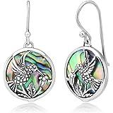 "925 Sterling Silver Hummingbird Drinking Flower Nectar Abalone Shell Round Dangle Hook Earrings 1.3"""