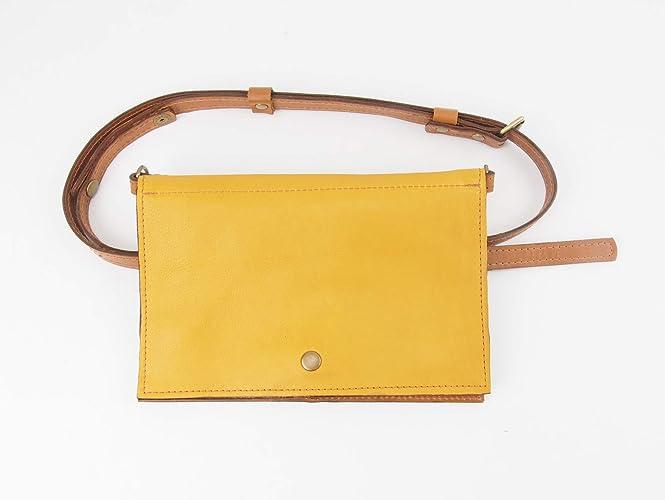 3813c15a059 Amazon.com  Hands Free Fanny Pack Leather Cross-body Purse Belt Bag   Handmade