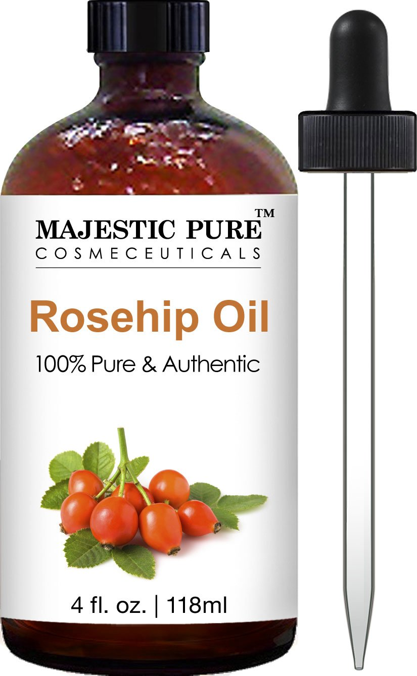 Majestic Pure Rosehip Oil for Face, Nails, Hair and Skin, 100% Pure & Natural, Cold Pressed Premium Rose Hip Seed Oil, 4 oz by Majestic Pure