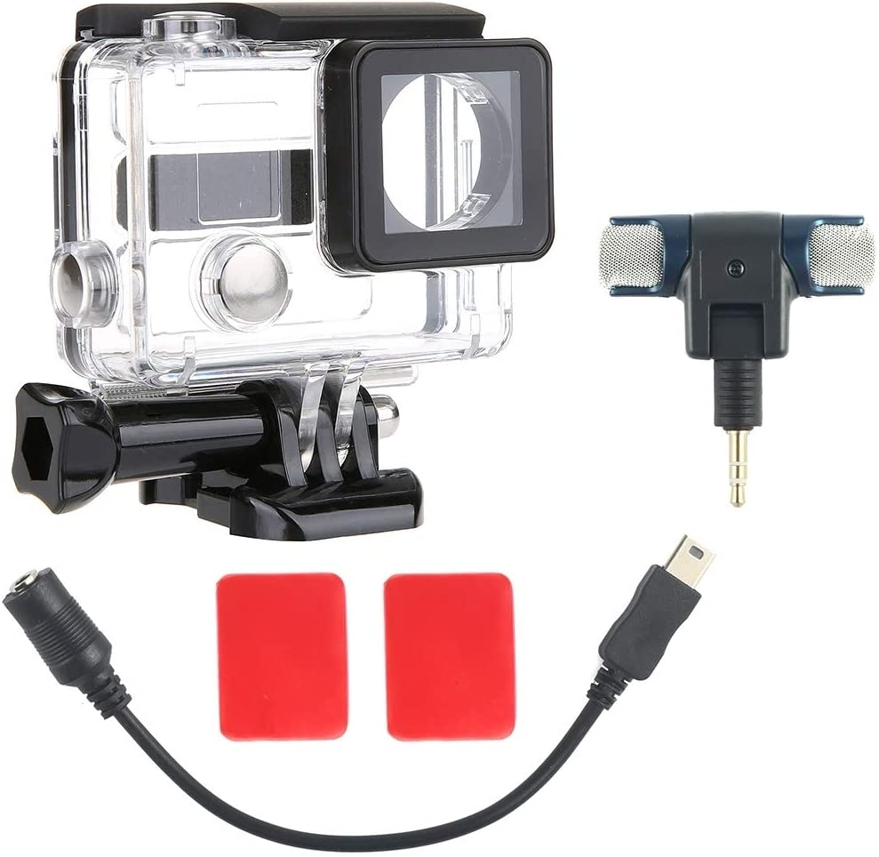 External Mini Stereo MIC Microphone with 17CM 3.5mm to Mini USB 10 Pin Adapter Cable for GoPro Hero 4//3 2 in 1 Waterproof Protective Housing Case Diving Box Microphone Size 5.5 5.5 1.5cm //3