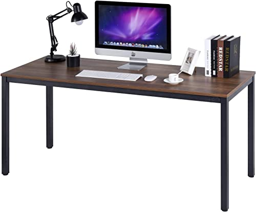 POPRUN Writing Computer Desk 63 Inch 63″x24″ Home Office Writing Study Desk,Modern Simple Sturdy Laptop Study Table,Walnut