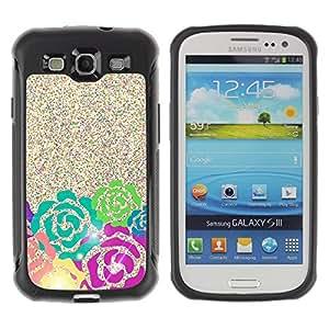 Fuerte Suave TPU GEL Caso Carcasa de Protección Funda para Samsung Galaxy S3 I9300 / Business Style Glitter Pink Green Teal Sparkling