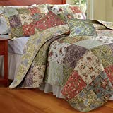 5pc Cottage Country Floral Patchwork Reversible Cotton Quilt Set Full/Queen Size