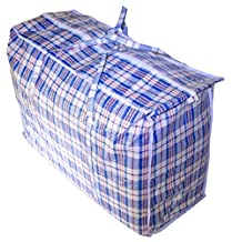 "Jumbo Plastic Checkered Storage Laundry Shopping Bags W. Zipper & Handles Size=27"" x 25"" x5"" (6 Pack)"