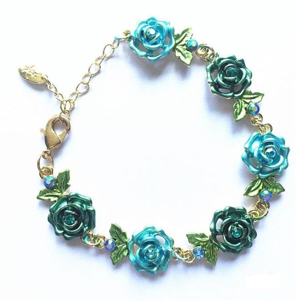 Yudanwin Collier Accessoires de Perles Bracelet Fleur en Alliage Bricolage perlé Bracelet (Bleu)