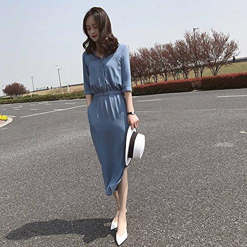 Longues Black Mousseline avec Ouverte Une Une Jupe Robe MiGMV Longue Robe Taille Bleu L de Manches vw47ZfnWqx