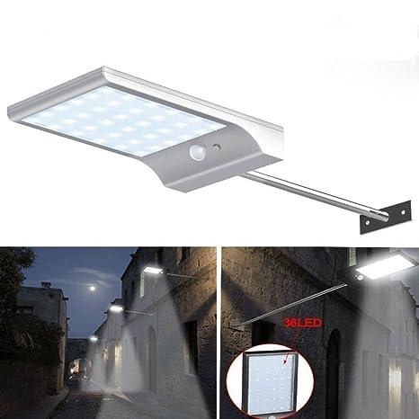Ajusen Lámpara Solar Focos Exterior 36 LED Luz Solar Aplique de Exterior ,Abask con Sensor
