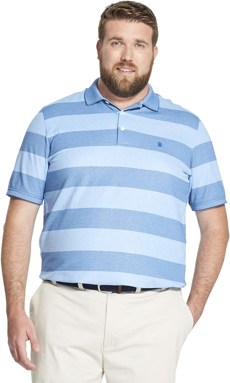 IZOD Mens Big and Tall Advantage Performance Short Sleeve Stripe Polo Shirt
