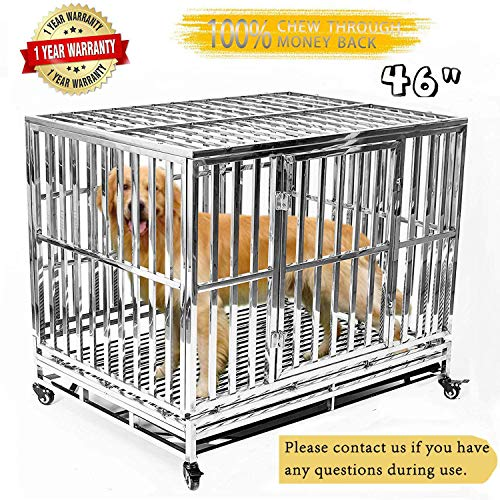 Gelinzon Heavy Duty Stainless Steel Metal Dog Cage Kennel Crate and Playpen for Training Large Dog Indoor Outdoor with Door & Locks Design Included Lockable Wheels Removable Tray, 46 inch ()