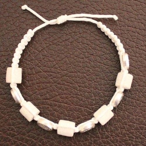 MEDJUGORJE - Chaplet - Bracelet from Apparation hill stones - shipped directly from MEDUGORJE. - White thread