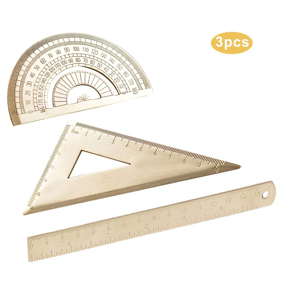 Brass Straight Ruler Set, Protractor, Triangular Ruler, Stationery for Children Students Examination by Lin-Tong