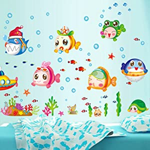 Fish Catroon Wall Stickers Children Room Home Decor Baby Adhesive for Kids Room