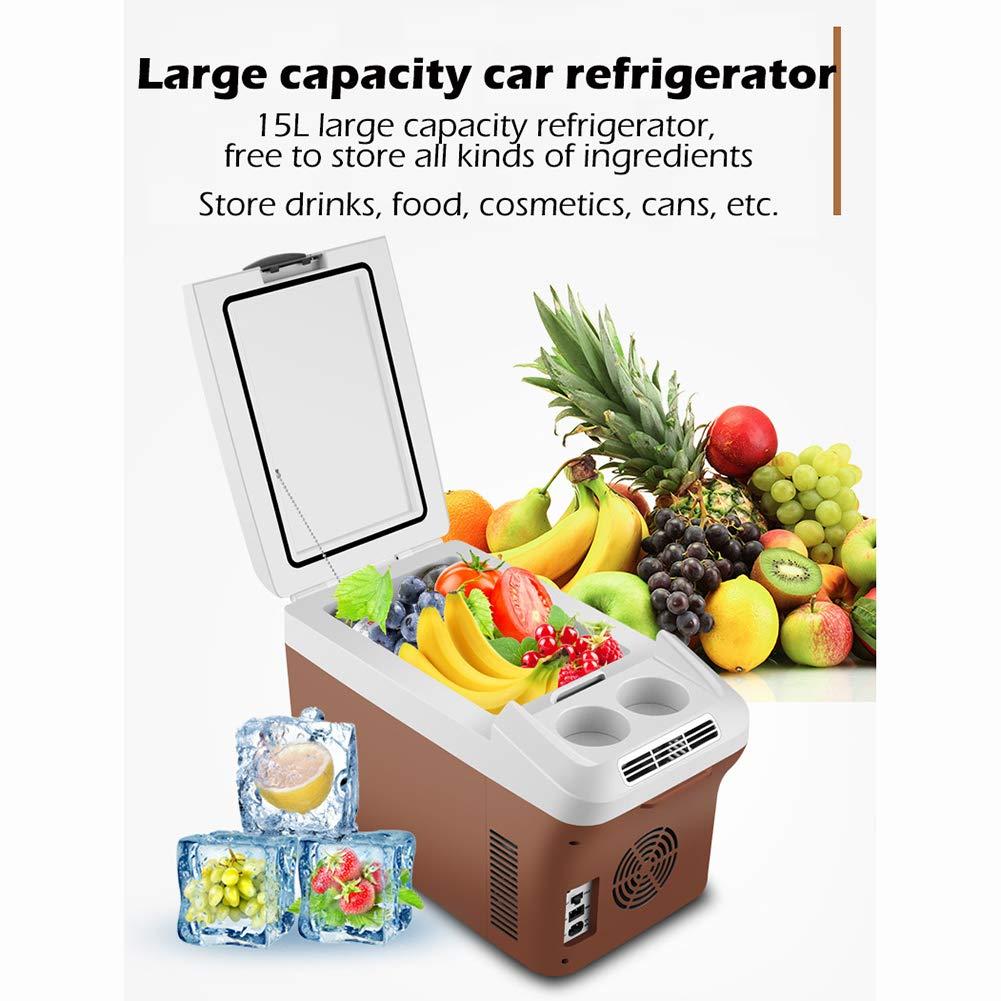 Marrone Mini frigo Portatile per Auto 15L Frigorifero Freddo e Caldo Silenzioso 12V // 24V // 220V Auto//Camion//Famiglia Risparmio energetico