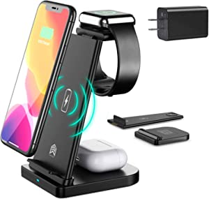 Wireless Charger 3 in 1 Wireless Charging Station for Multiple Devices, Qi-Certified Removable Compatible with Apple Iwatch Series Se, Airpods, iPhone 11 Pro/XS/XR/8, Samsung, Watch 6/SE/5/4/3