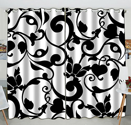 Custom Black and White Damask Pattern Classic Vintage French Floral Swirls Window Curtain Kitchen Curtain Size 52(W) x 84(H) inches (Two Piece)