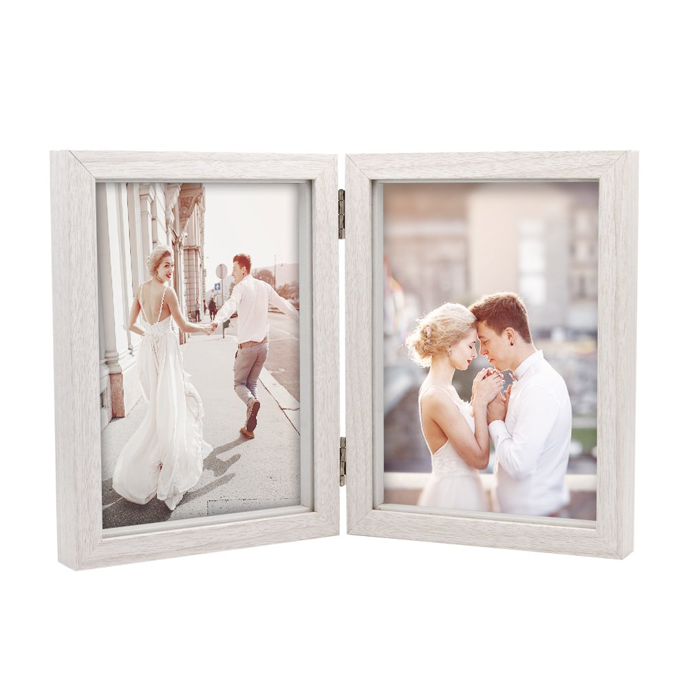 Afuly Double Picture Frame 5x7 White Wooden Hinged Photo Frames Shadow Box 2 Openings Wedding Gifts College Dorm Decor