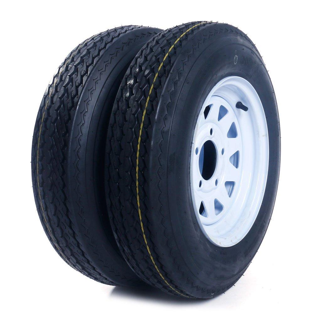 2 pcs 12'' 5.30x12 Trailer Tires & Rims LRC 6 Ply 5 Lug/4.5'' Hole White Spoke Wheel
