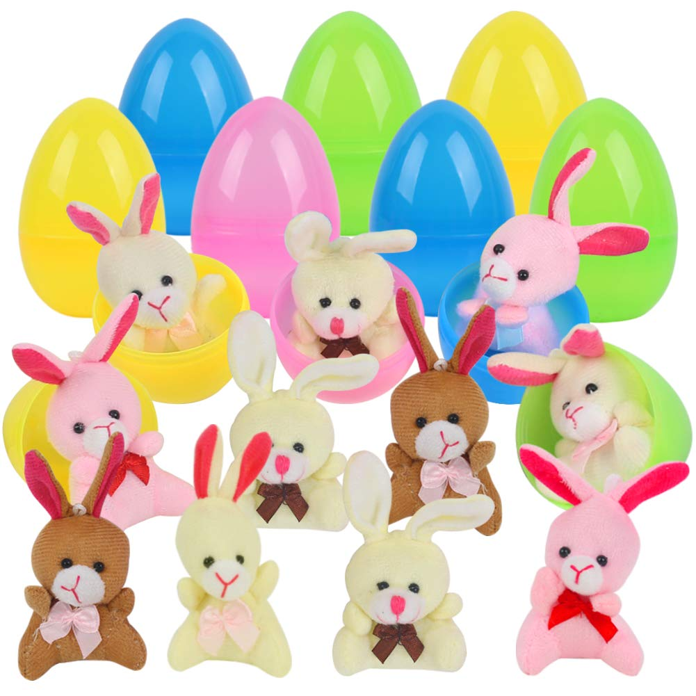 FuturePlusX Plastic Easter Eggs Filled with Plush Bunny 12PCS Easter Basket Toys for Easter Party Eggs Hunt Games