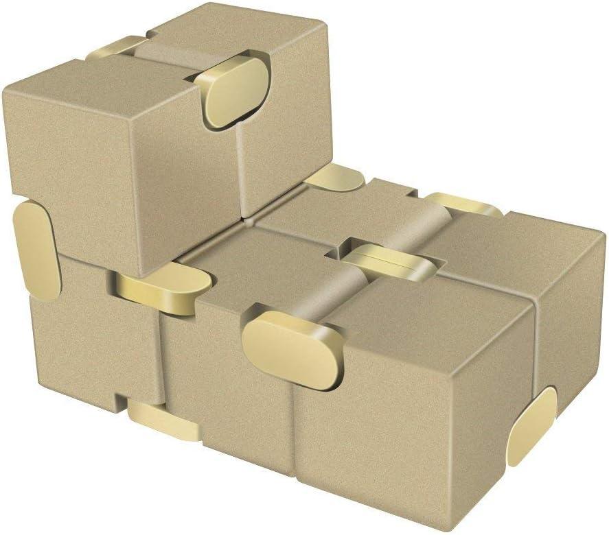 Fidget Cubes Infinity Cube Fidget Hand Finger Spielzeug Aluminum Alloy Stress Relief W/ürfel Toys f/ür Anxiety Autism ADD ADHD Kinder Erwachsene Gold