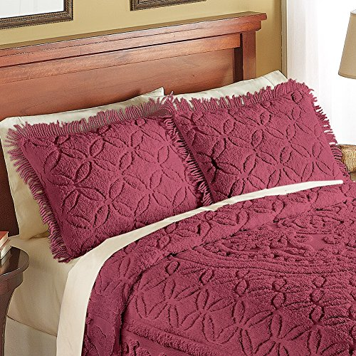 Collections Etc Victoria Plush Chenille Ring-Style Fringe Pillow Sham, Burgundy, Sham ()