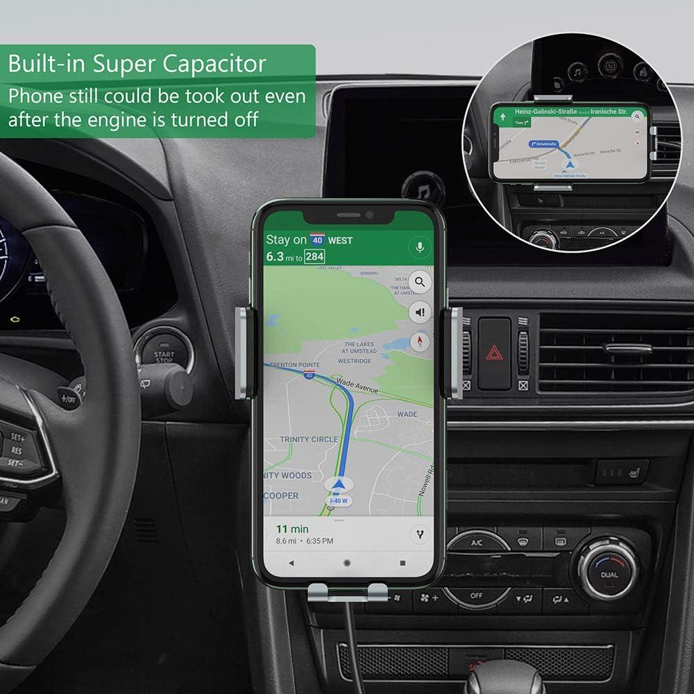 Note 10//9//8,Nero Qi Caricabatterie Ricarica Rapida 15W//10W//7.5W Supporto Auto-Bloccaggio per iPhone 11 PRO Max//XS Max//SE//XR//X//8 8+ Galaxy S20 S10 S9 S8 S7 S6 steanum Caricatore Wireless Auto